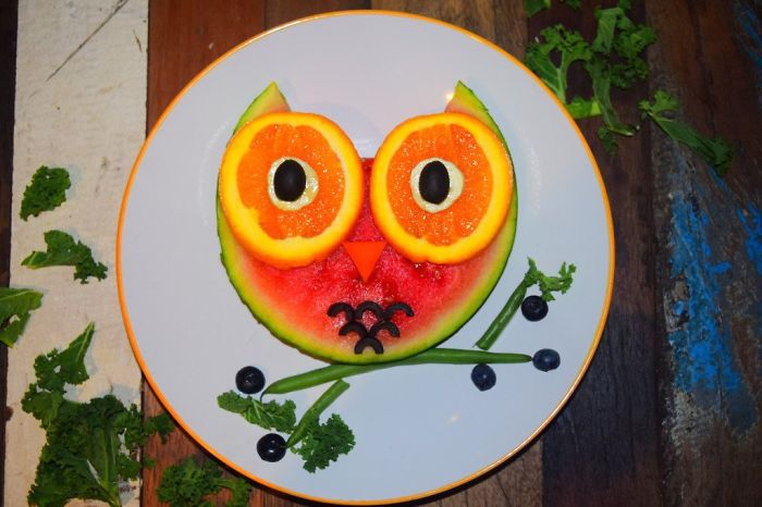Watermelon Owl Food Art