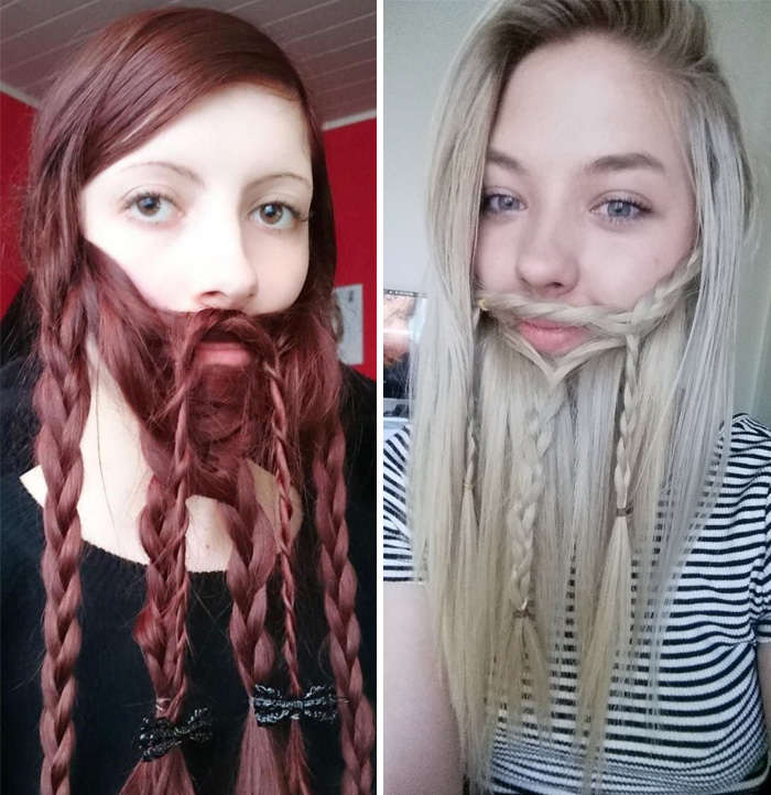 73 Women Who Braided Their Hair Into Beards That Make Men Envious