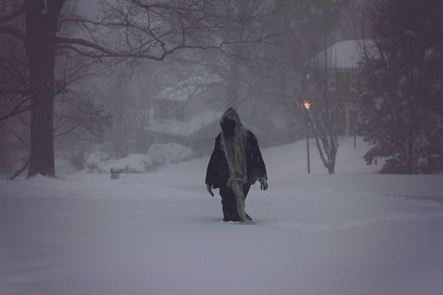 Convinced Husband To Go Out In A Blizzard Dressed As Death. Neighbors Stared