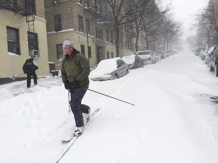 People Skiing On The Streets Of Nyc