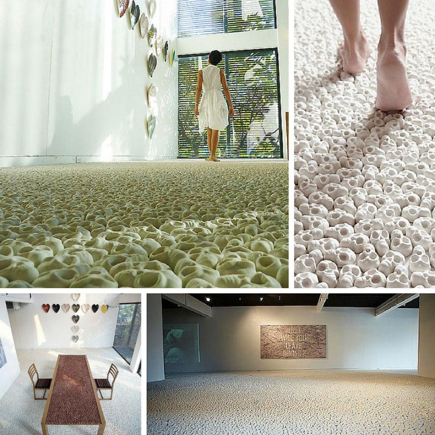 The Skull Carpet - Artist Nino Sarabutra Filled The Floor Of Ardel Gallery In Bangkok With 100k Miniature Porcelain Skulls