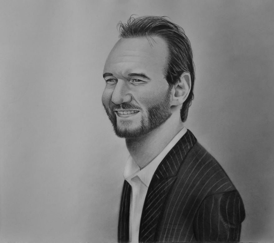 'nick Vujicic', 2014 - He Changes Many Things In My Life, For Example The Way Of Thinking. I Gave This Portrait To Nick On 30th April, 2015 In Poznan, Poland.