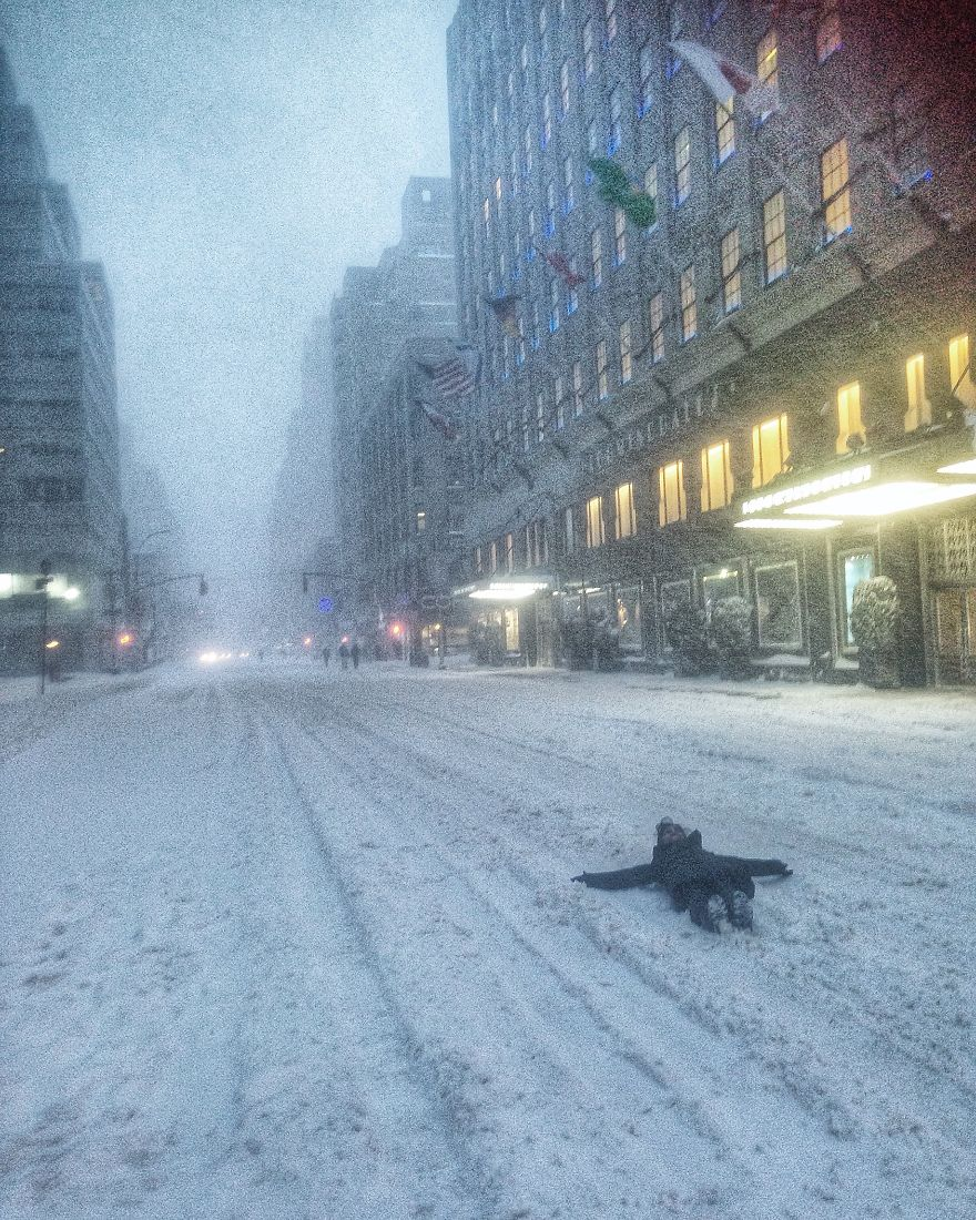 Snow Tanning In Front Of Bloomingdales, Ny