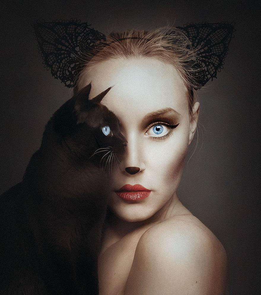 Fotografka nahrádza oko modeliek okom rôznych zvierat