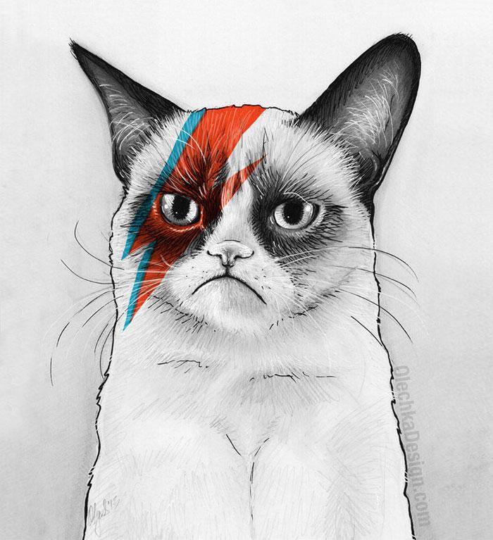 Grumpy Cat As David Bowie
