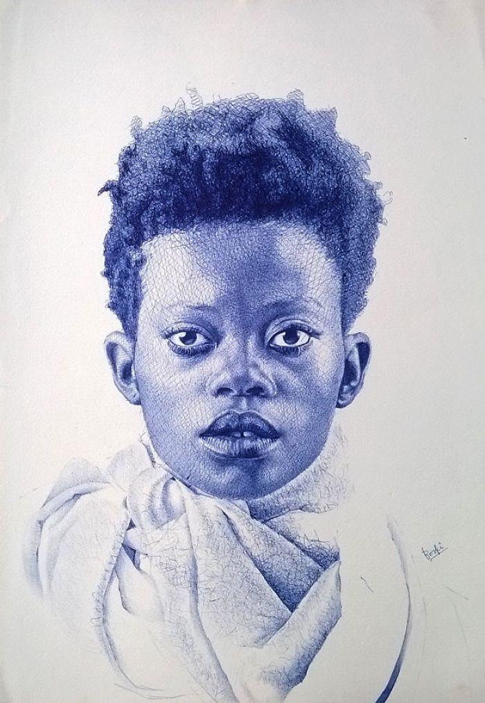 Ballpoint Pen Portrait Art By Enam Bosokah