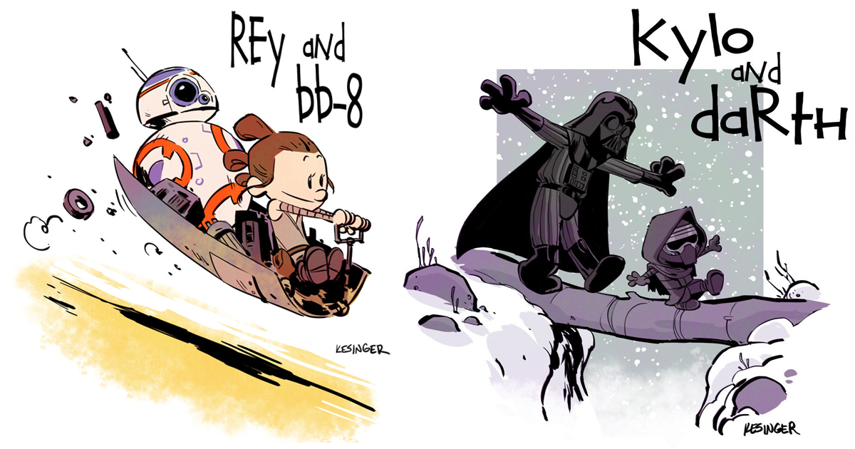 """""""Star Wars"""" Reimagined As """"Calvin & Hobbes"""" Characters"""