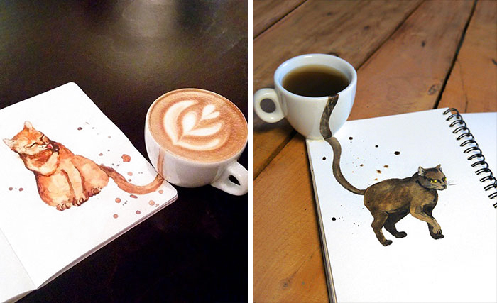 Russian Illustrator Reimagines Different Coffees As Cats
