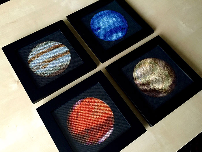 I'm Cross-Stitching The Solar System!