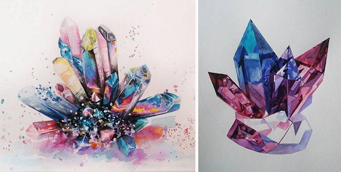I Paint Colorful Crystals Using Watercolor