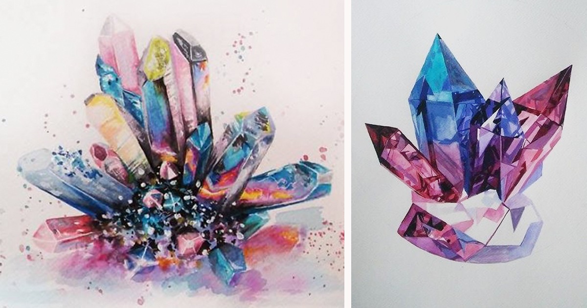 i paint colorful crystals using watercolor bored panda