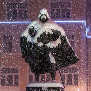 This Polish Statue Looks Like Darth Vader After A Snowy Day