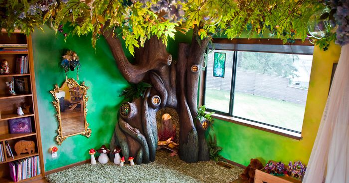 dad spends 18 months transforming daughter's bedroom into fairytale