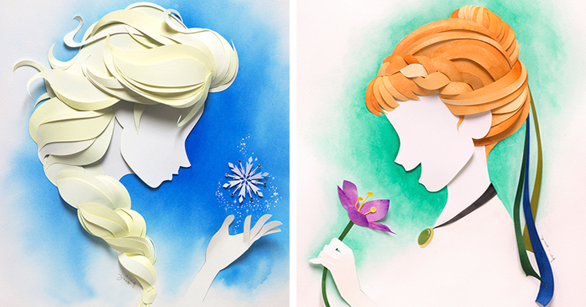 artist makes disney characters from layers of paper bored panda
