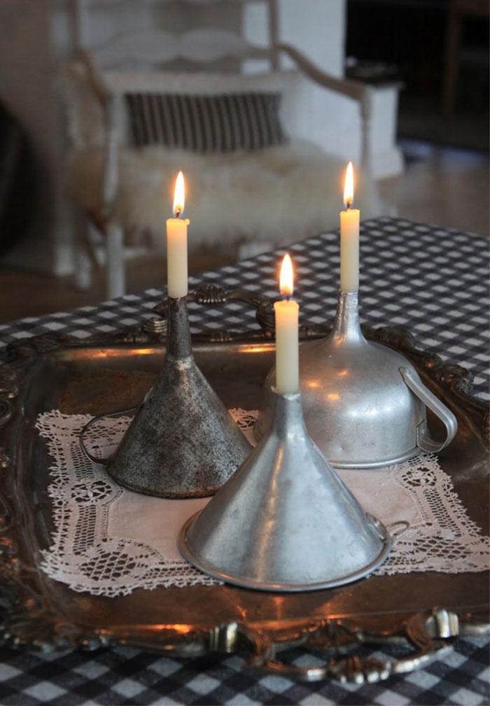 Vintage Funnels Turned Candle Holders