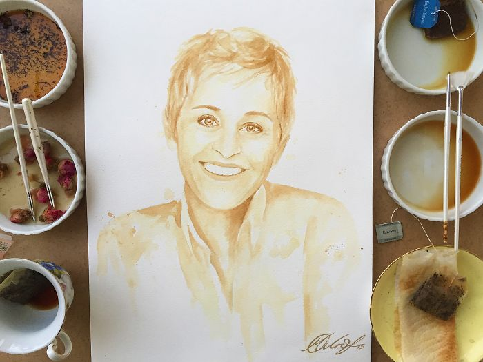 Ellen Doesn't Like Coffee, So I Painted Her With Tea