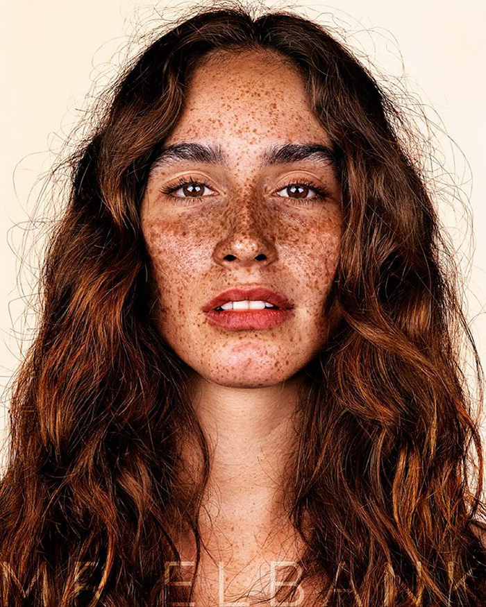 Beautiful woman with freckles
