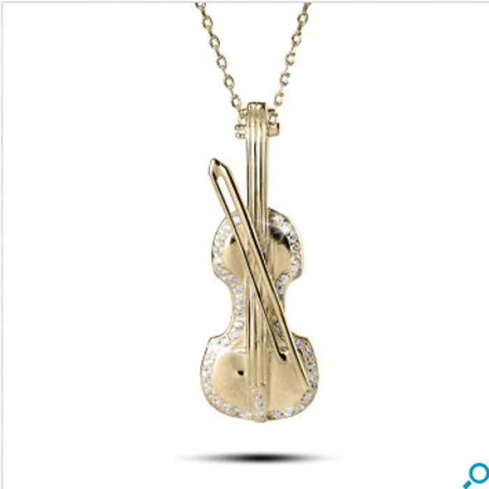 Golden Violin Pendant