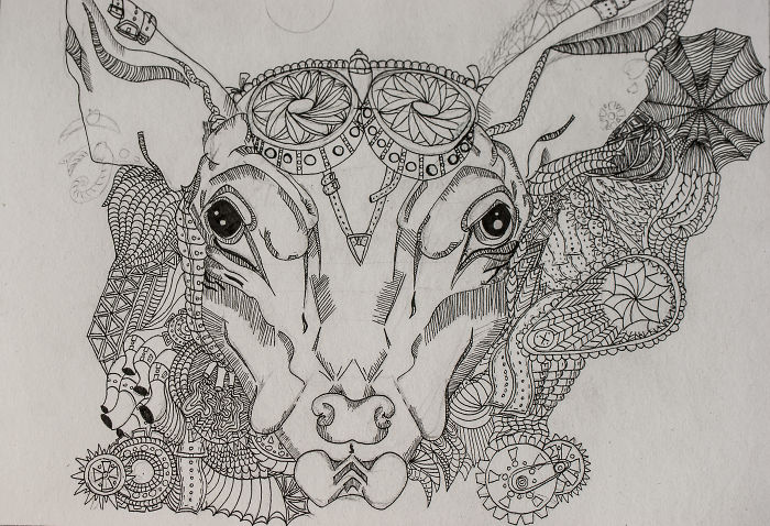 I Drew A Steampunk Sheep In Zentangle Technique