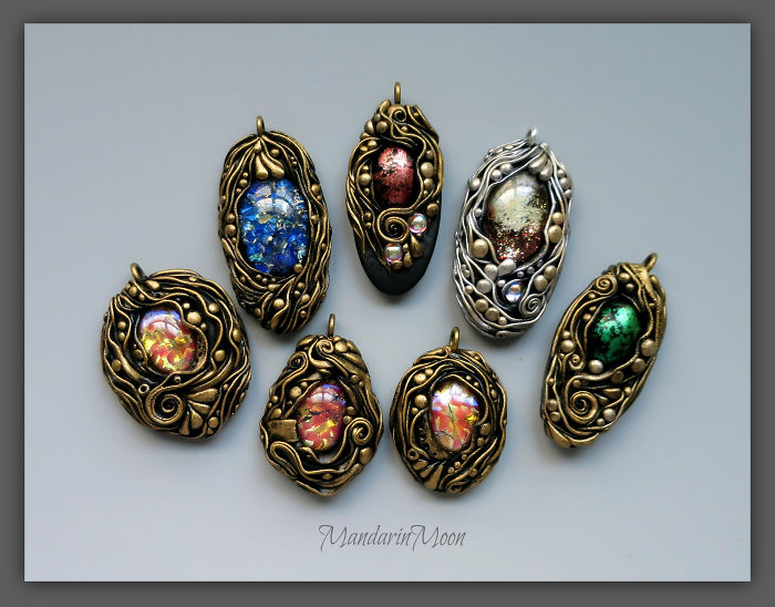 I Made These Pendants With Polymer Clay And Some Amazing Cabochons.