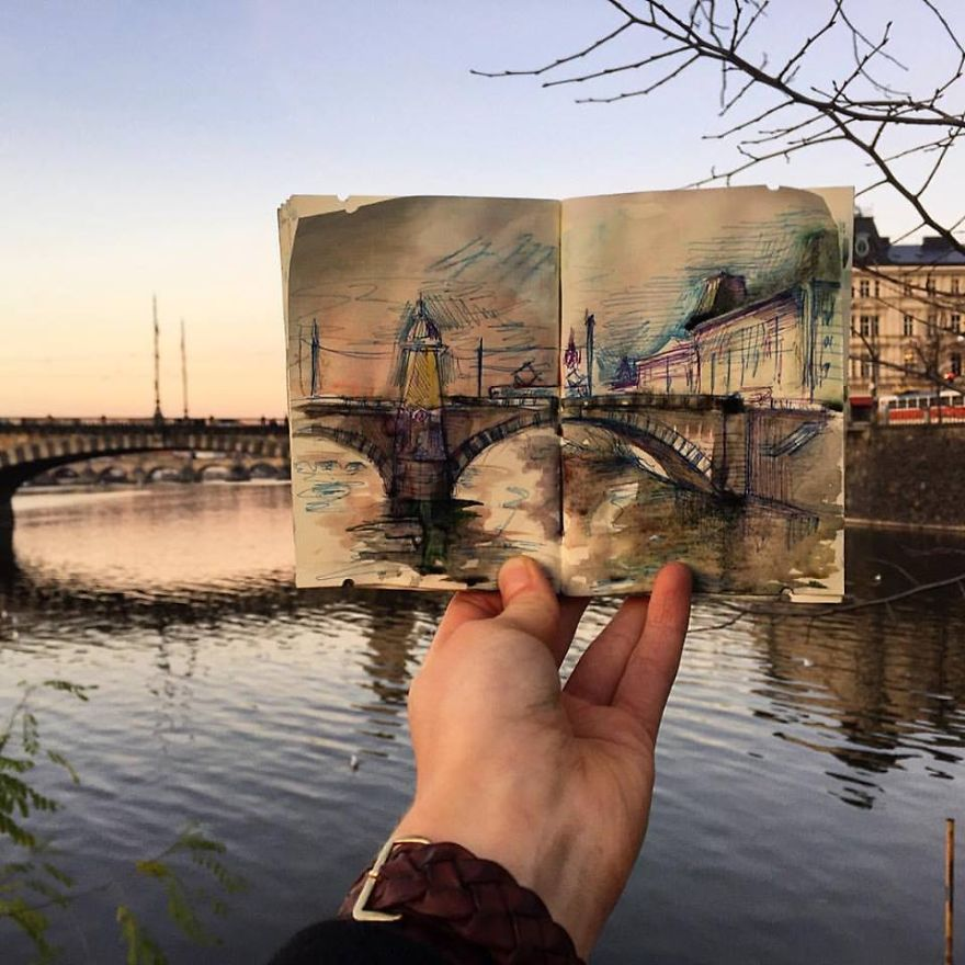 I Sketch The Places I Go To Every Day So That I Can Remember Them