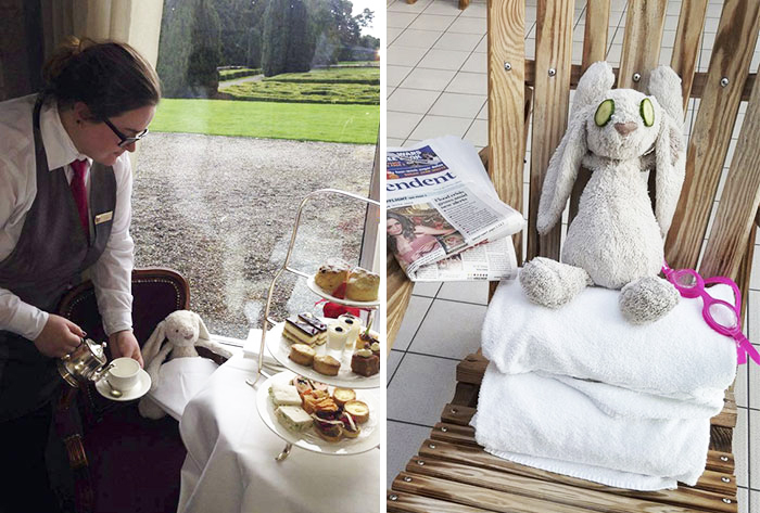 Little Girl Forgets Her Stuffed Bunny At Hotel, Staff Takes It On Adventure