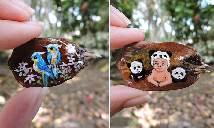 I Create Little Drawings On Pine Cone Stems
