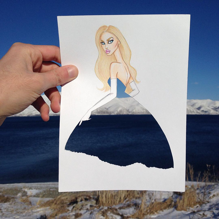 Armenian Illustrator Completes His Cut Out Dresses With Everyday Objects Bored Panda