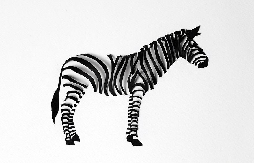 Paper loops i create 3d animals using shadows bored panda zebra voltagebd Images
