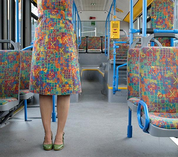 This Woman's Dress Looks Like Bus Seats