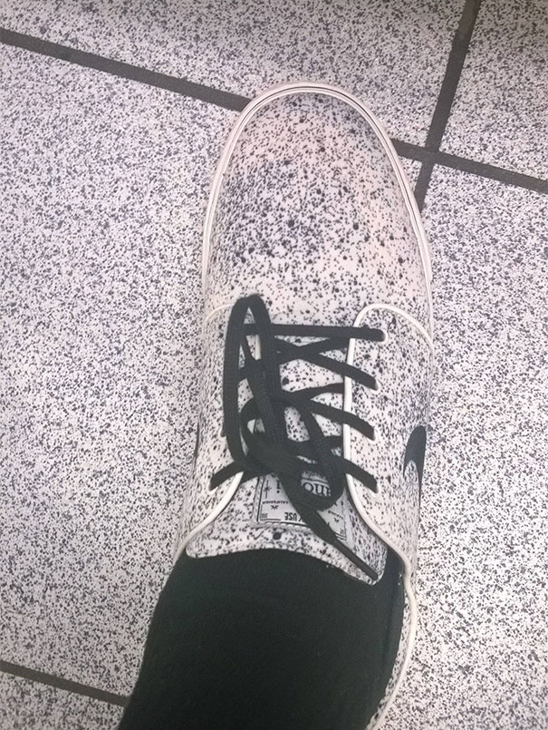 My Shoe Blended With The Tile In A Cinema Bathroom