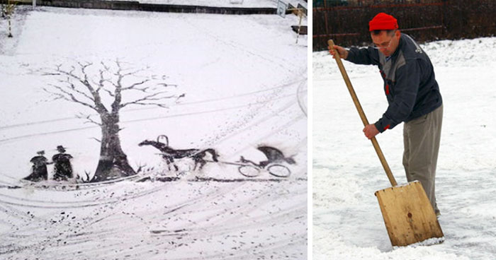 School Janitor Makes Snow Drawings With His Shovel To Bring Joy To Children