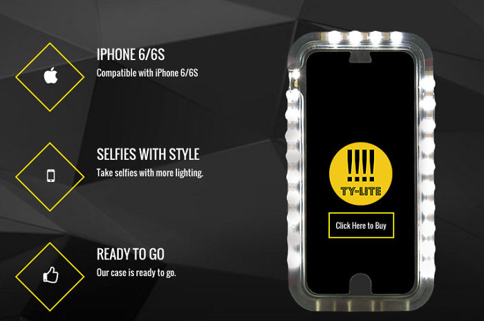Ty Lite Iphone Case With Selfie Light