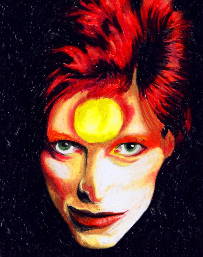 Ziggy Stardust In Oil Pastels