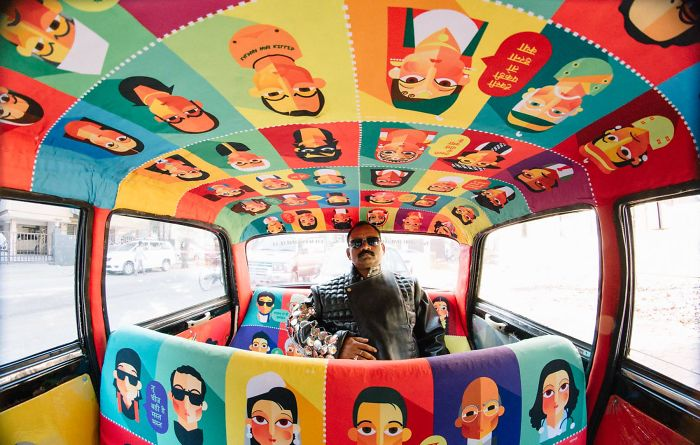 Taxi Fabric Project – When Indian Artists Decorate The Taxis In Mumbai