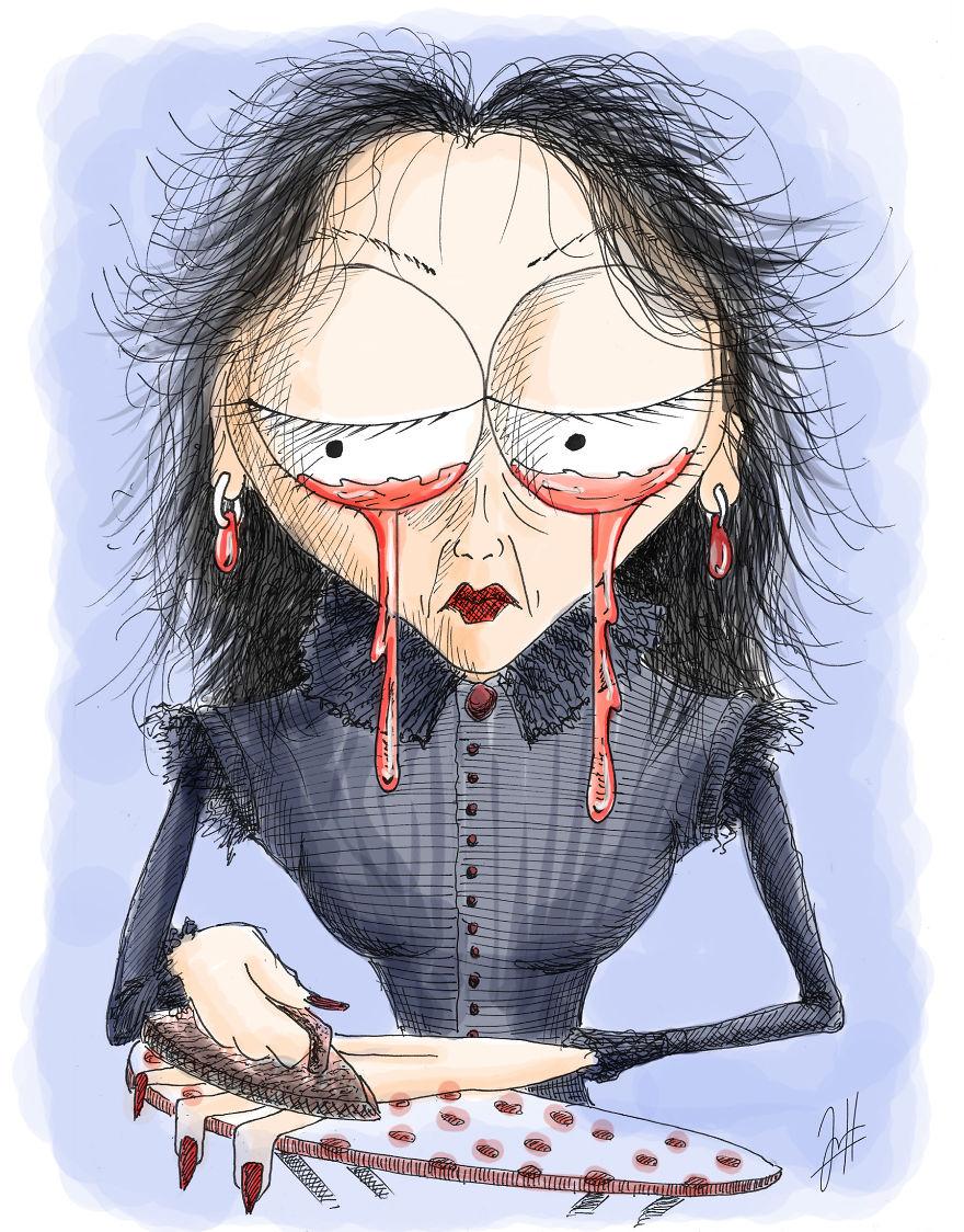 It's A Sad Tim Burton Like Girl Ironing Her Hand