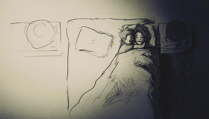 Muž kreslil celý rok bežné dni strávené so svojou milovanou ženu