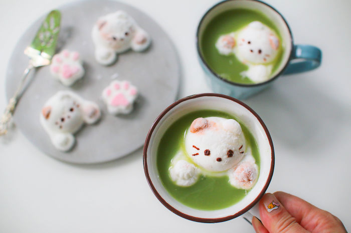 Cat Marshmallows In Matcha Latte