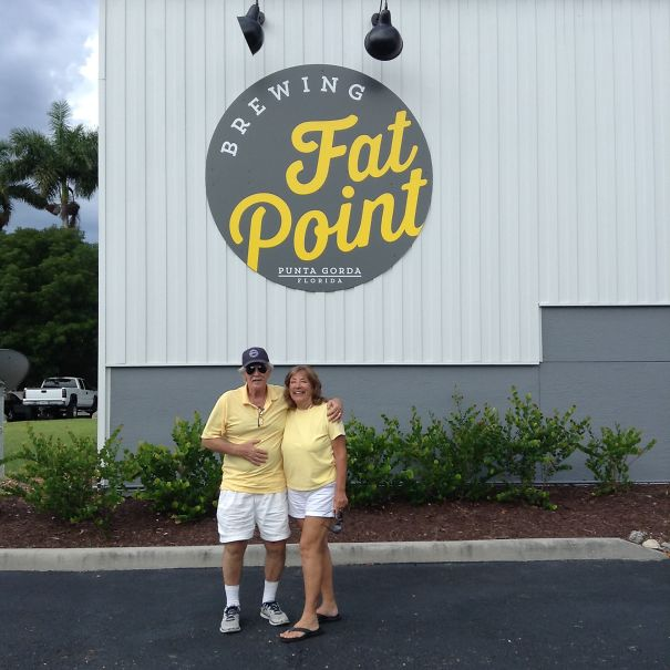 Mom & Dad Dressed Alike (unplanned) And Matched Logo & Staff At New Brewery