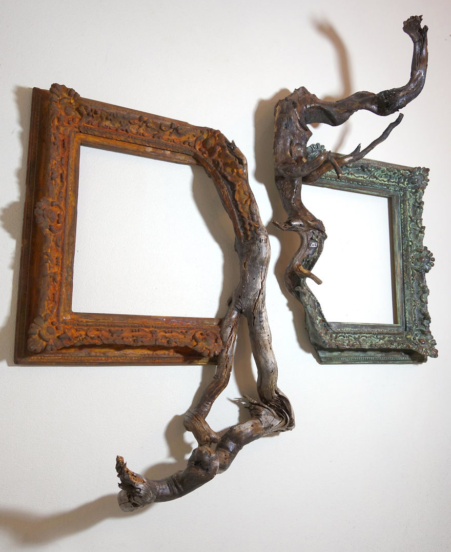 i give a second life to dead trees by fusing them with picture frames bored panda - Driftwood Picture Frames