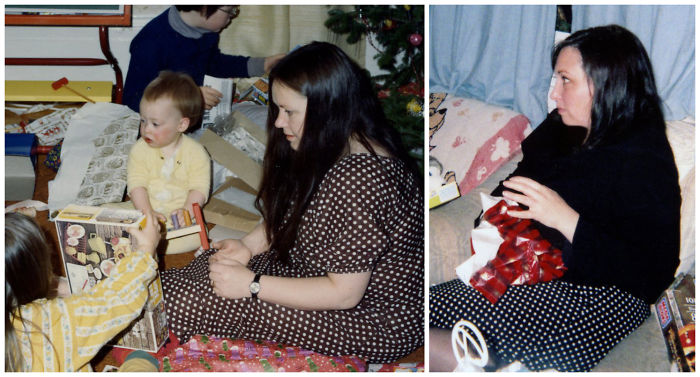 My Mother On The Left, Me On The Right. Both On Christmas Day In Polka Dots. Not Intentional.