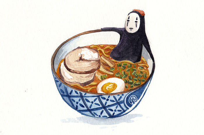 Little Ghibli And Food Watercolor Painting I Made