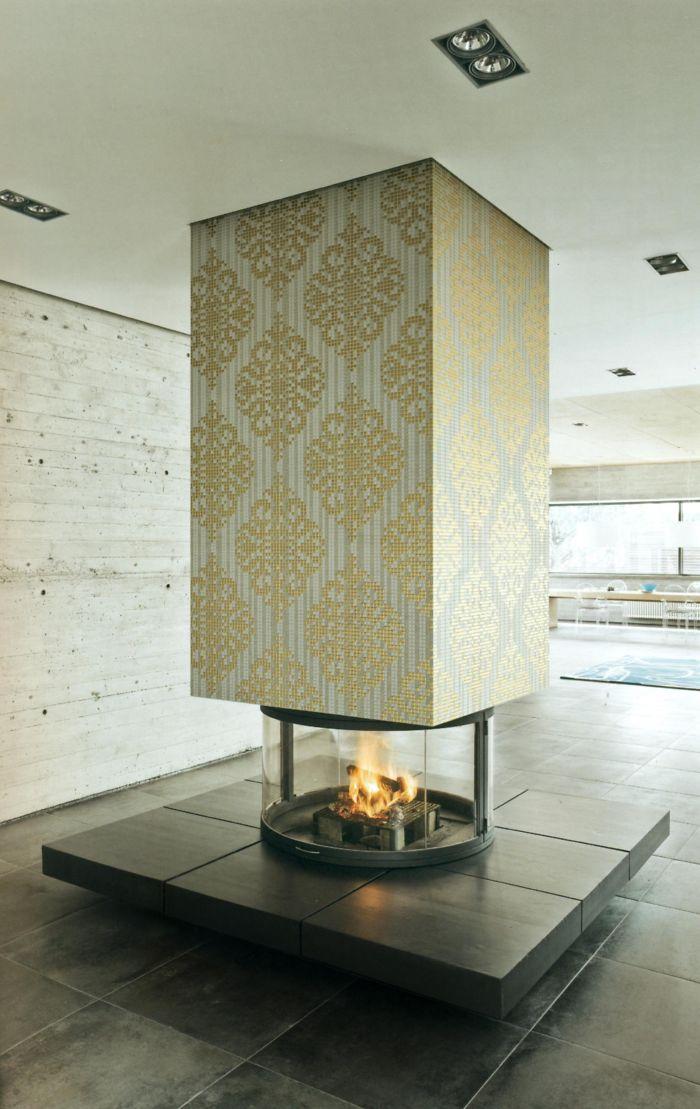 24k Gold & Glass Mosaic Fireplace
