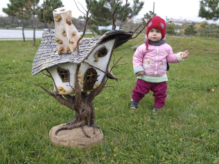 We Made A Fairy Tree House Out Of Twigs And Craft Foam
