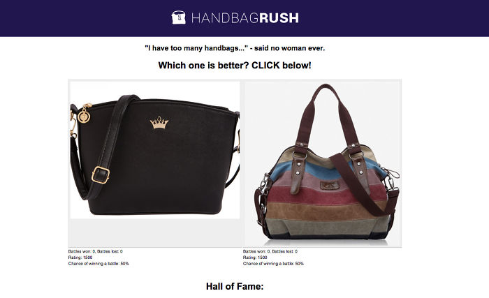 A Totally Different And Addictive Hot Or Not Game… For Handbags!