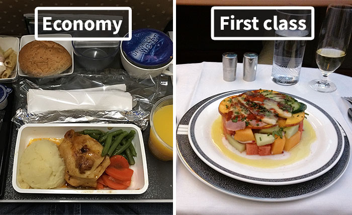 Airline Food: Economy Vs. First Class (30 Pics)