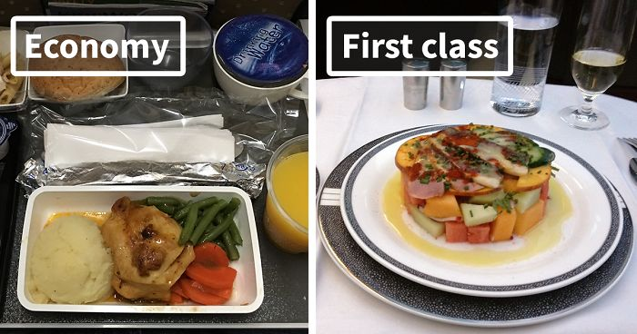 Airline Food Economy Vs First Class 30 Pics Bored Panda