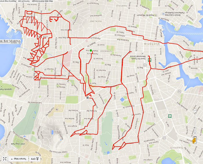 Drawing Lines Google Maps : Artist draws world s largest doodles by riding his bike