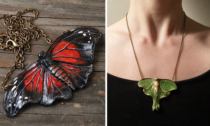 I Create Bird And Butterfly Necklaces Out Of Polymer Clay
