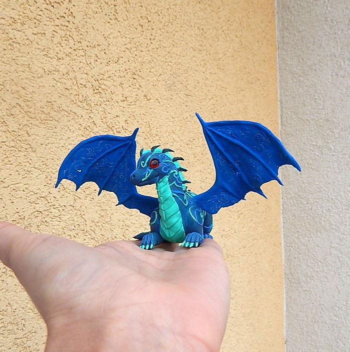 Blue Dragon Figurine, Dragon Sculpture